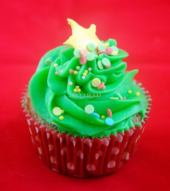 Cupcakes Árbol de navidad de Manzana y Canela
