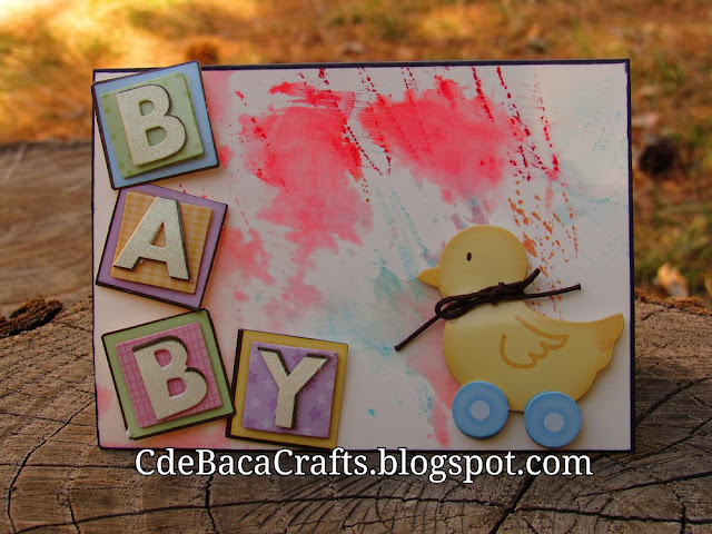 A Handmade Baby Shower Card with Watercolors by CdeBaca Crafts Blog.