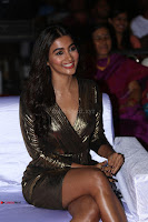 Pooja Hegde looks glamarous in deep neck sleevless short tight golden gown at Duvvada Jagannadham thank you meet function 034.JPG