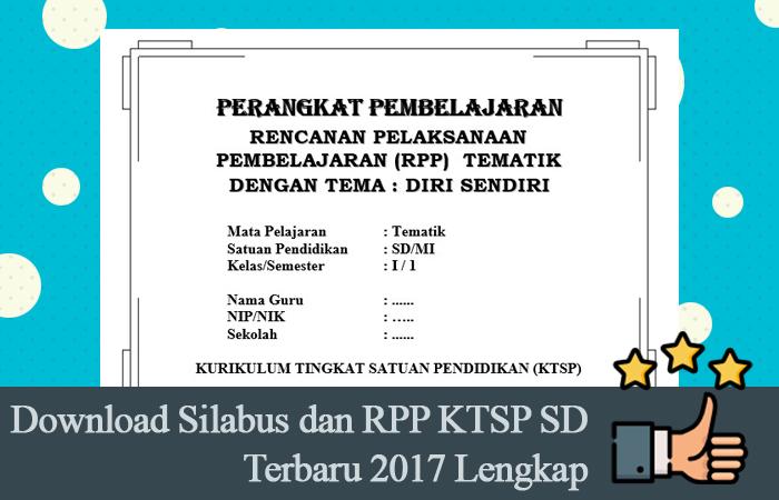 Download Silabus dan RPP KTSP SD Terbaru 2017 Lengkap