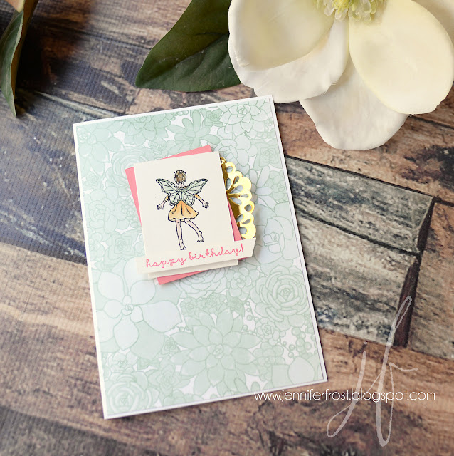 Birthday Card, Fairy Celebration, Fancy Friday, Succulent Garden DSP, Stampin' Up!, Papercraft by Jennifer Frost