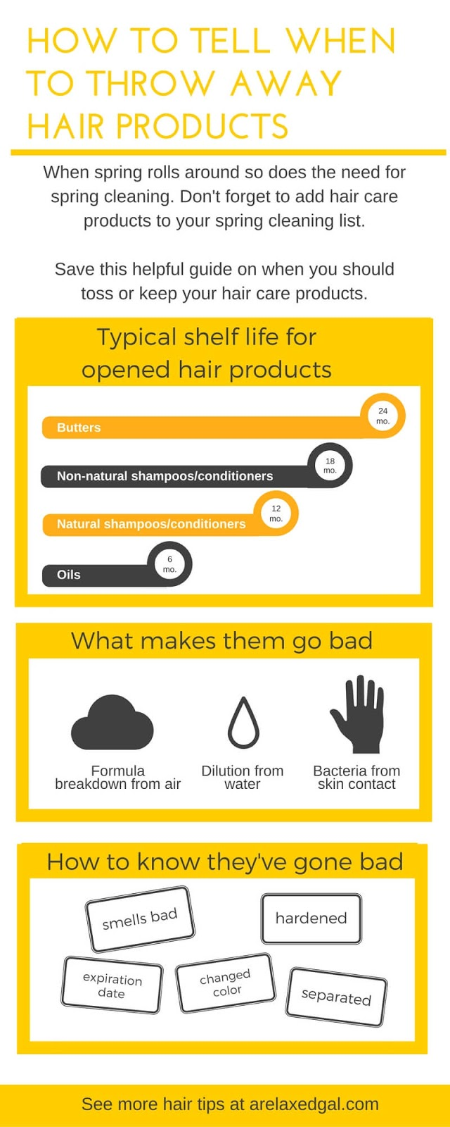 Hair care products don't last forever. Sometimes they need to be thrown away. Check out this inforgraphic to see when you should be throwing away hair care products. | arelaxedgal.com
