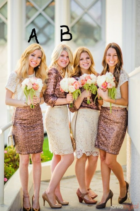 2017 Popular Stitching Bridesmaid Dresses with Lace Sequined for Wedding and Prom-Factory price: US$ 90