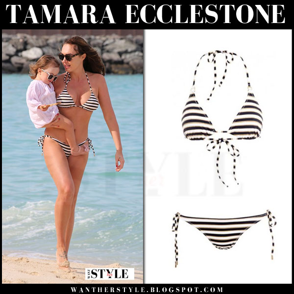 Tamara Ecclestone in striped triangle bikini melissa odabash beach style what she wore dubai