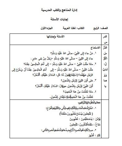 أجابات دروس الفصل الثاني لغة عربية