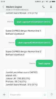 Ujicoba Mengirim Format SMS dan Chat