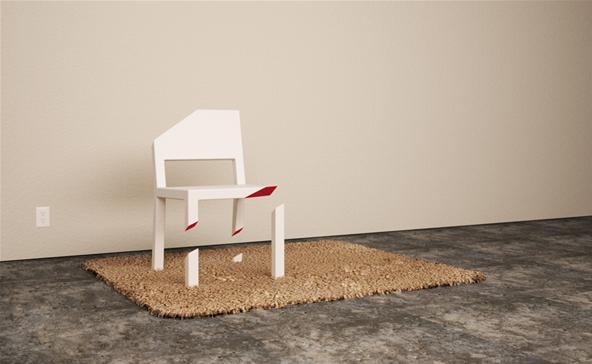 Tek ayağı üzerinde duran diğer ayakları kesik olan sandalye