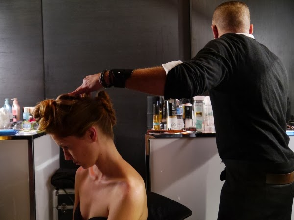 Pantene Pro-V stylist Justin German at work creating the Rockin' Romance hairstyle
