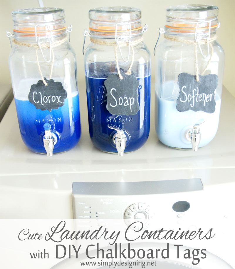 Three laundry soap dispensers made from mason jar drink dispensers each with a chalkboard tag. Tags read Clorox, Soap, Softener