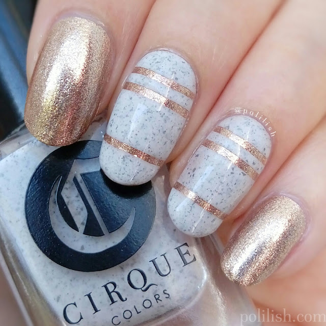 Striped nails with Cirque Colors 'Hatch' and 'Cin Cin' from the Speckled and Sparkled collection