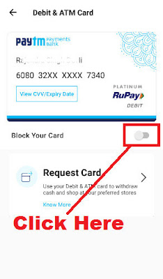 how to block paytm virtual atm card online