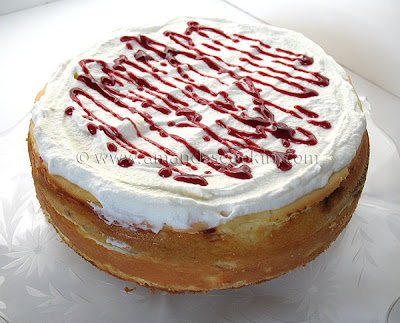 A close up photo of an English trifle cheesecake.