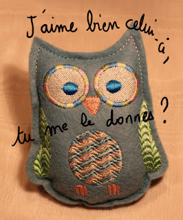 machine embroidery, owl