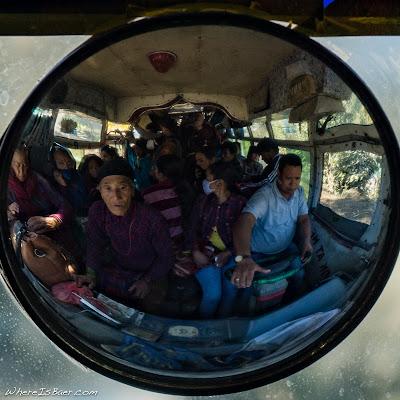 bus overcrowded nepal, WhereIsBaer.com Chris Baer mirror