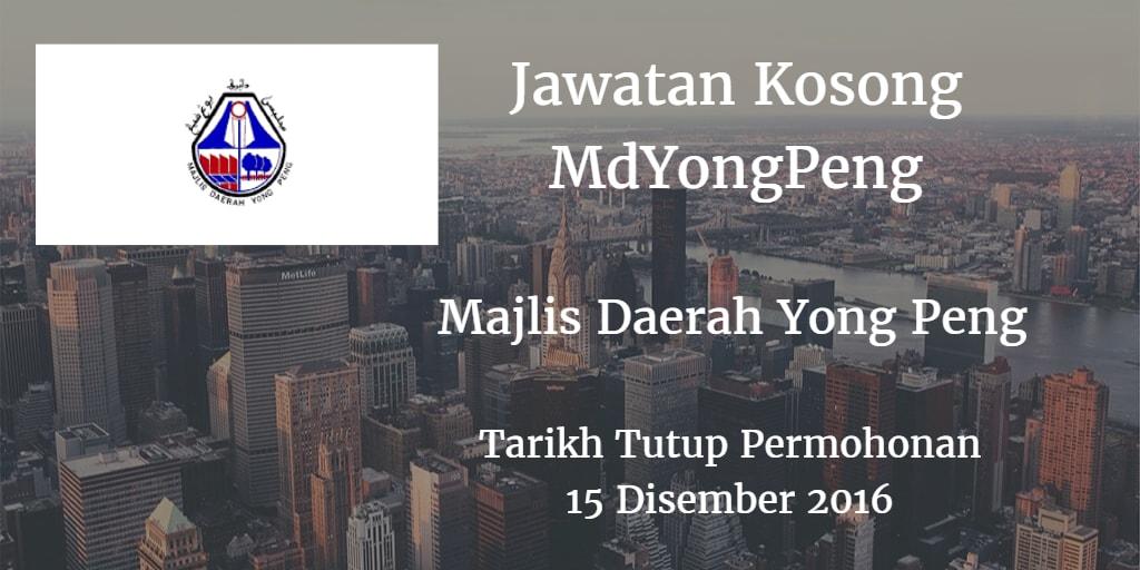 Jawatan Kosong MdYongPeng 15 Disember 2016