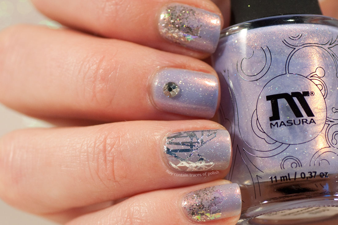 Masura Lavender Lemonade Silver Sparkle Nail Art