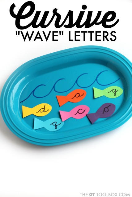 Cursive wave letters are cursive letter c, a, d, g, q, and o. Using a wave can help kids learn to write these cursive letters.