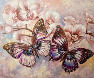 Картина, Орхидеи и бабочки, 50х60см