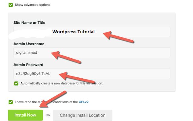 Wordpress advanced options