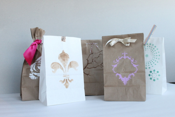 DIY Stenciled Wedding Favor Bags