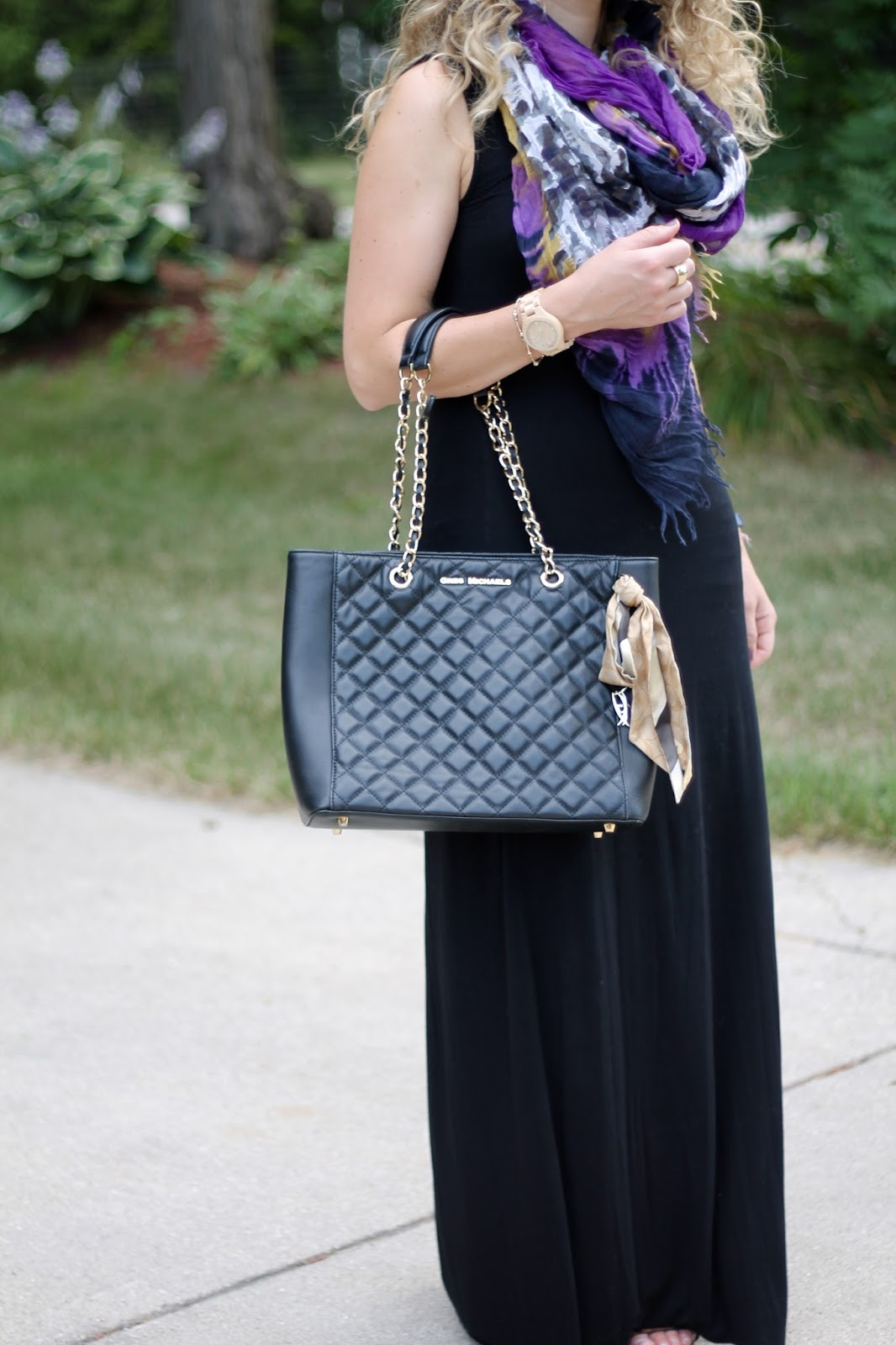 black maxi, tie dye scarf, leopard sandals, black quilted tote, ways to wear black maxi dress