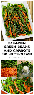 Steamed Green Beans and Carrots with Charmoula Sauce found on KalynsKitchen.com