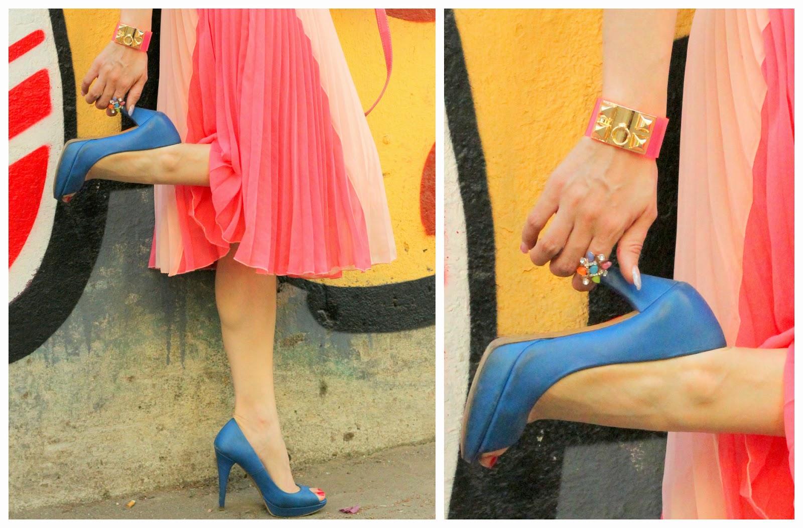 Blue Zara Peep-Toe Heels