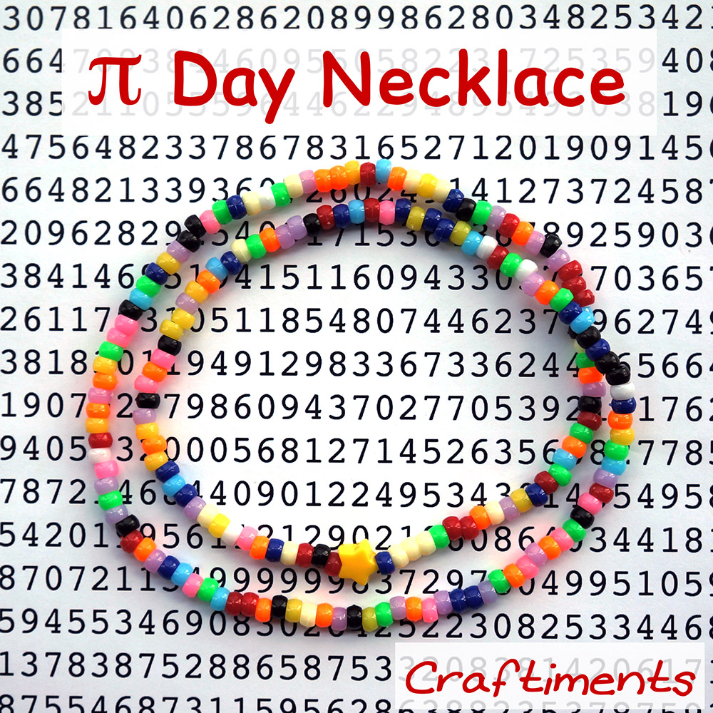 Pi Day necklace craft for kids