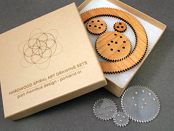 Hardwood spiralgraph art drawing set