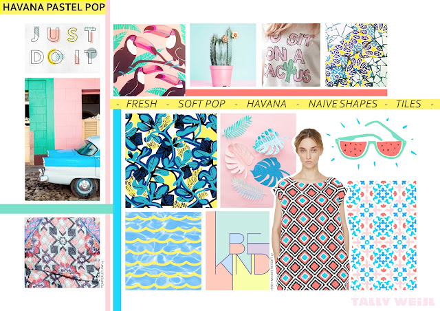 Pastel pop, pastel fashion, pastel trend, pop trend, Cuban trend, Havana inspired, Cactus print, tile print, abstract florals, soft tropical