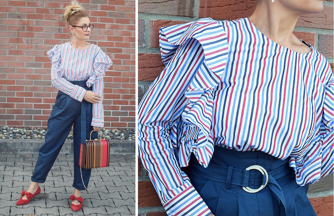 Hose im Paperbag Schnitt, gestreifte Bluse, Rot Weiß Blau