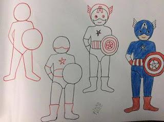 dibuja caricaturas capitan america