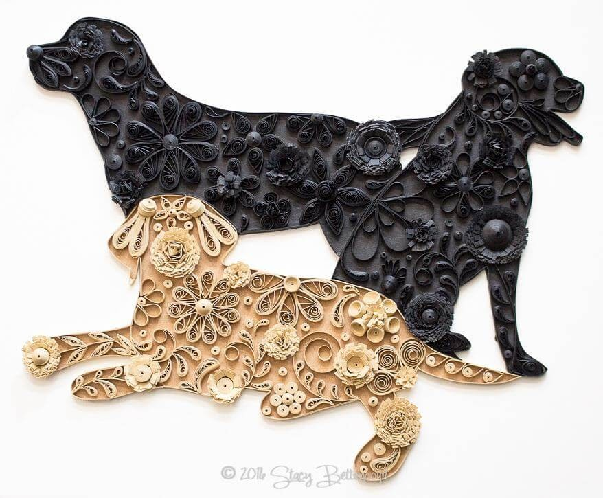 08-Three-Labrador-Retrievers-Stacy-Bettencourt-Quilling-Animals-and-Game-of-Thrones-www-designstack-co