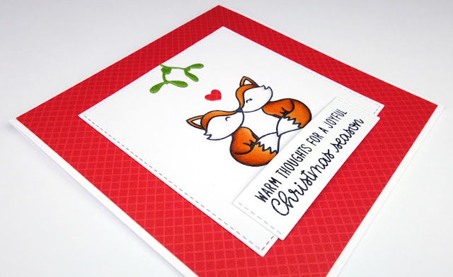Cute Romantic Foxes Christmas Card using Sunny Studios Foxy Friends