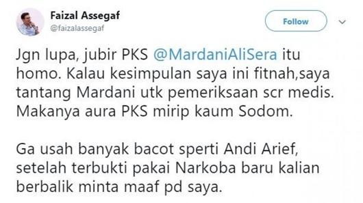 Reaksi Mardani Ali Sera Dituding Homoseksual oleh Faizal Assegaf