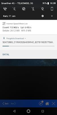 Jika proses download berhasil dimulai maka akan muncul di notifikasi.