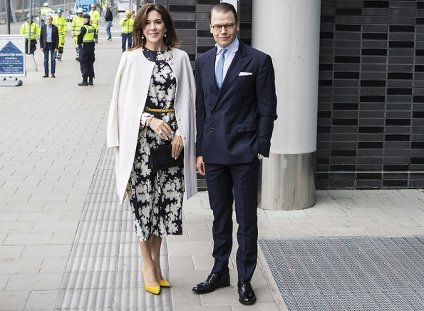 Crown Princess Mary wore Gianvito Rossi Pumps in Yellow, floral printed dress. Crown princess Victoria wore silk blouse