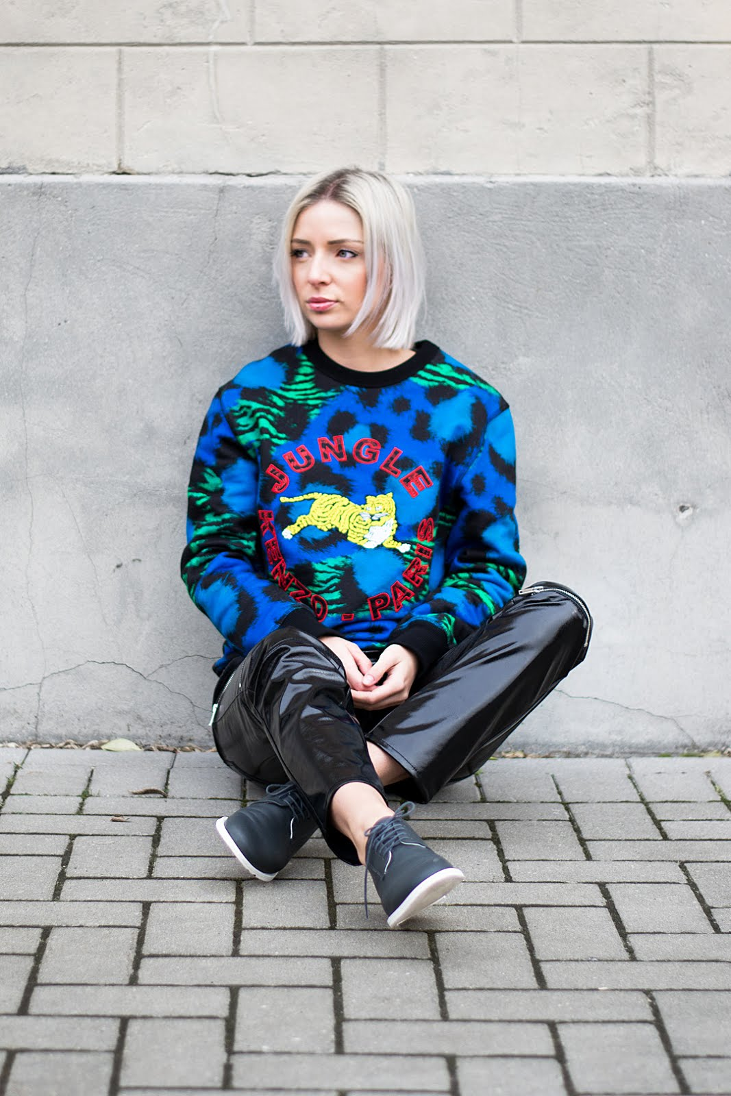 Kenzo x H&M sweater / sweatshirt, jungle print, leopard, cobalt blue, patent trousers, zara, cos minimal lace up shoes, outfit