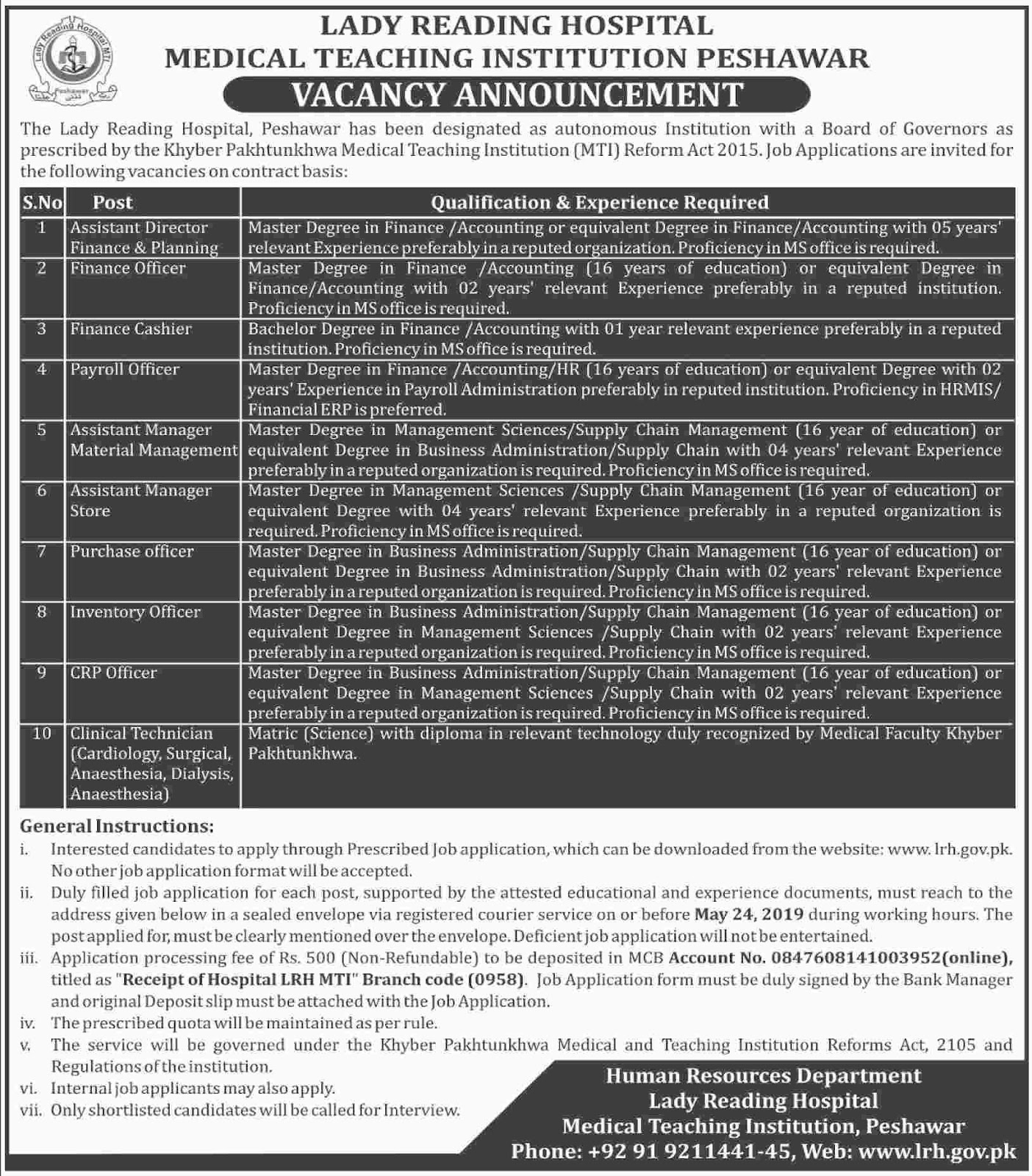 Jobs In Lady Reading Hospital Peshawar