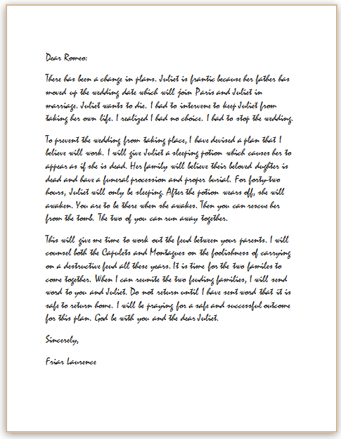 friar lawrence letter to romeo