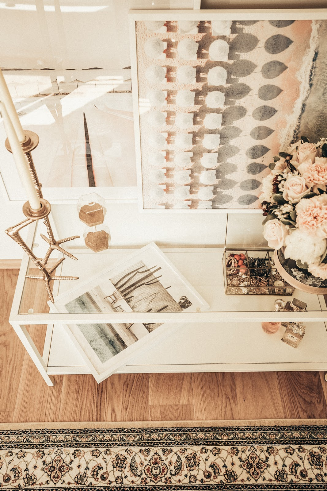home decor table design posters flowers candles jewelry