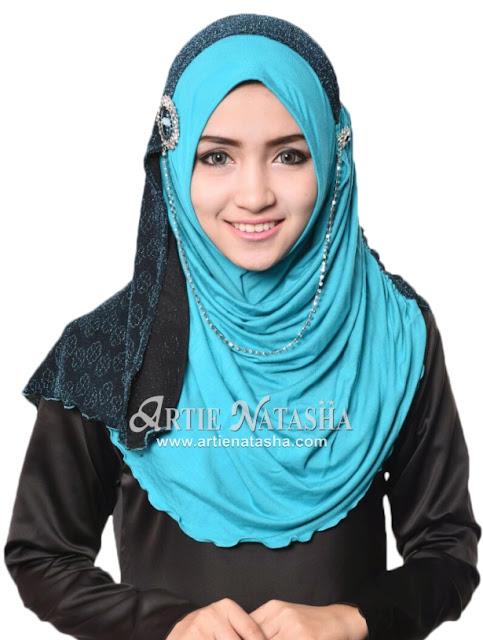 tudung desain terbaru Hari Raya Haji instant Natasha LadyDiyana moss crepe lycra corak kerongsang