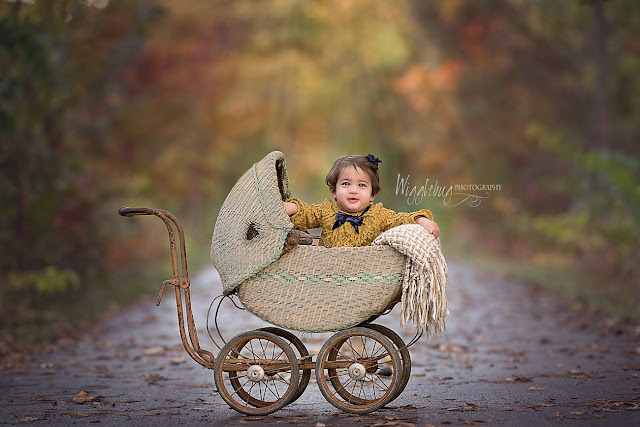 10 month old baby girl in vintage pram outside with beautiful fall colors