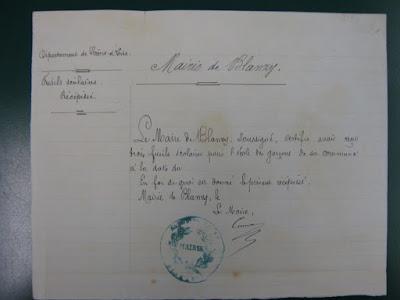 Accusé de réception par le Maire de Blanzy de trois fusils de tir scolaire, 1882 (AD71)