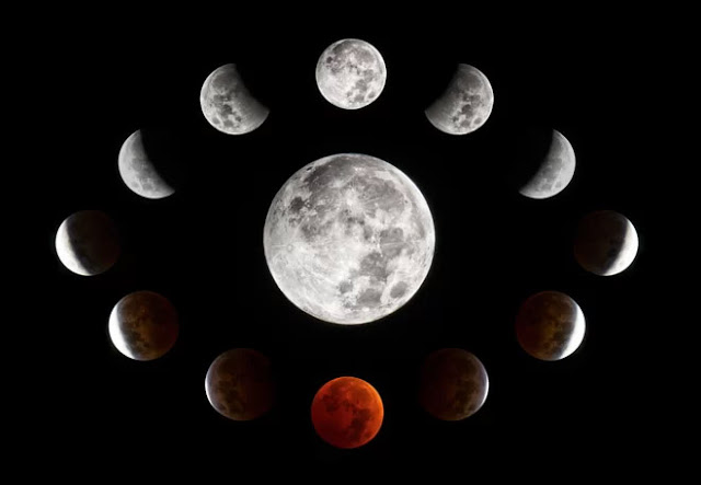 Colagem feita a partir de fotos do eclipse lunar de 8 de outubro de 2014, em Wisconsin, EUA - Connor Madison