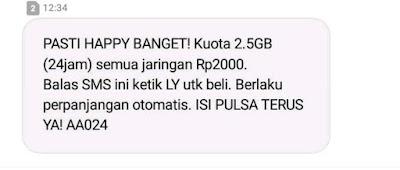 Kuota 2.5GB (24jam) semua jaringan Rp2000