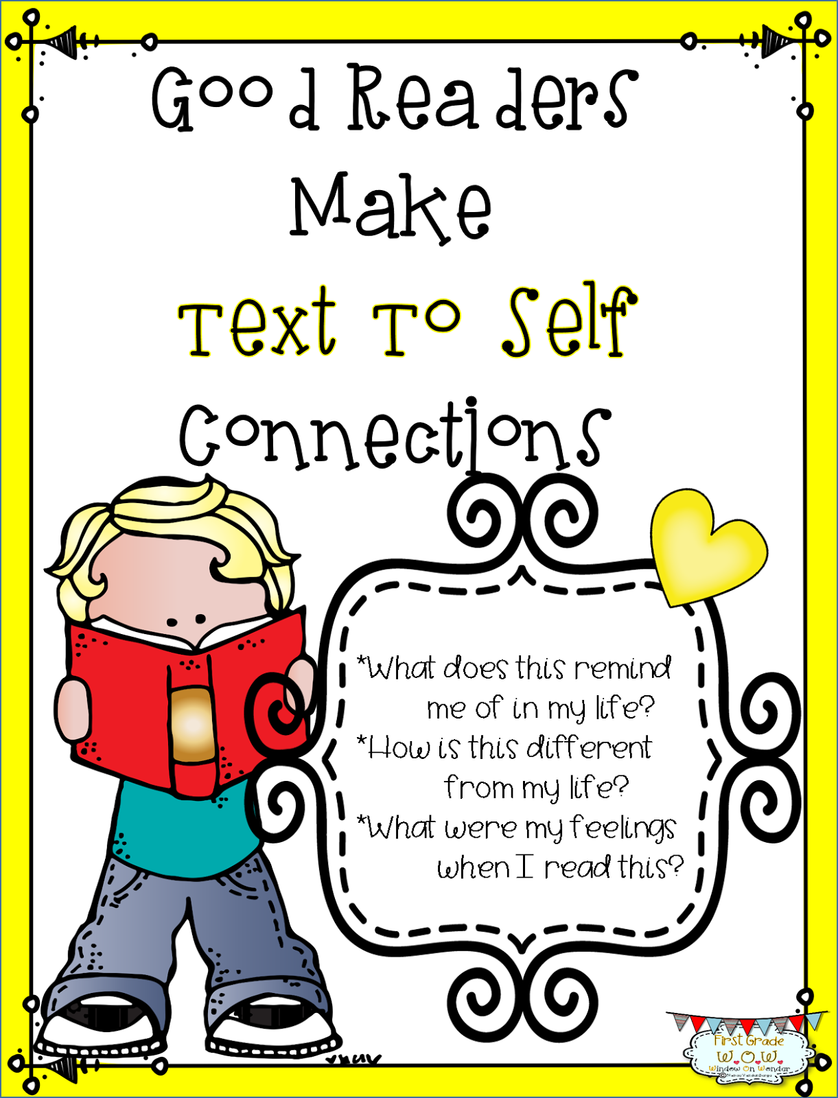 First Grade Wow Text Connections With Heart