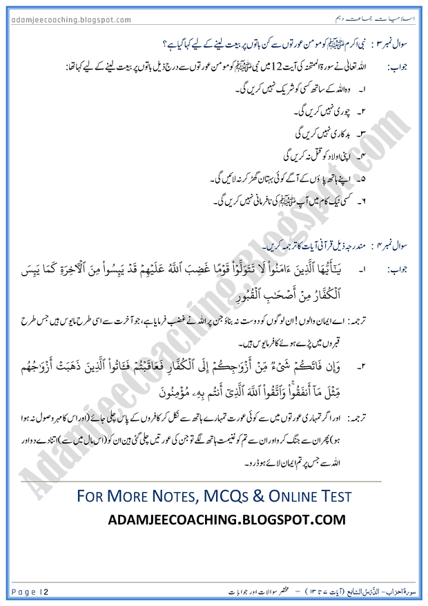 surah-al-mumtahanah-ayat-07-to-13-short-question-answers-islamiat-10th