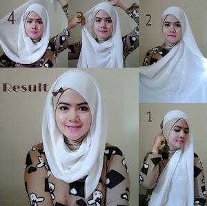 6 Gambar Tutorial Hijab Modern Syari Cantik Menawan