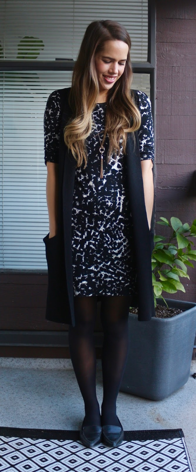 Jules in Flats - Abstract Print Dress with Sweater Vest for Work